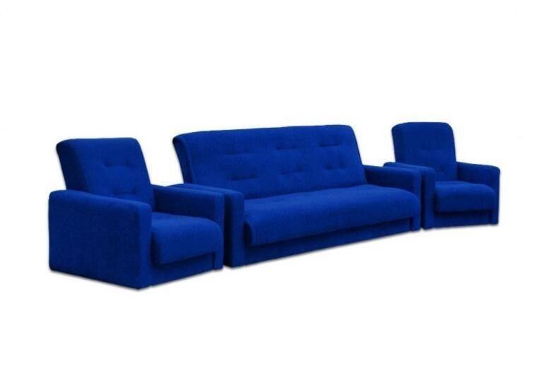Диван Craftmebel Милан + 2 кресла синий - фото 1