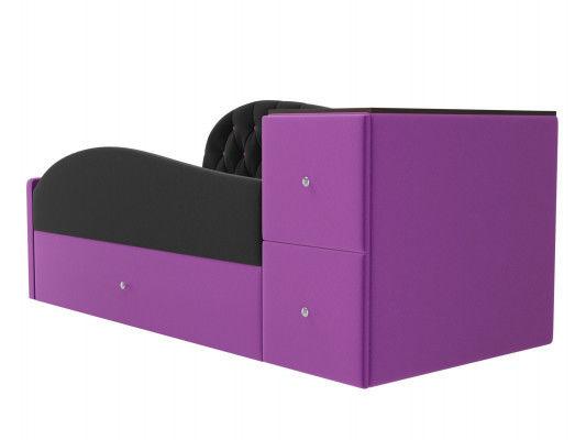 Диван ЛигаДиванов Джуниор правый 102201 микровельвет черный/фиолетовый - фото 2