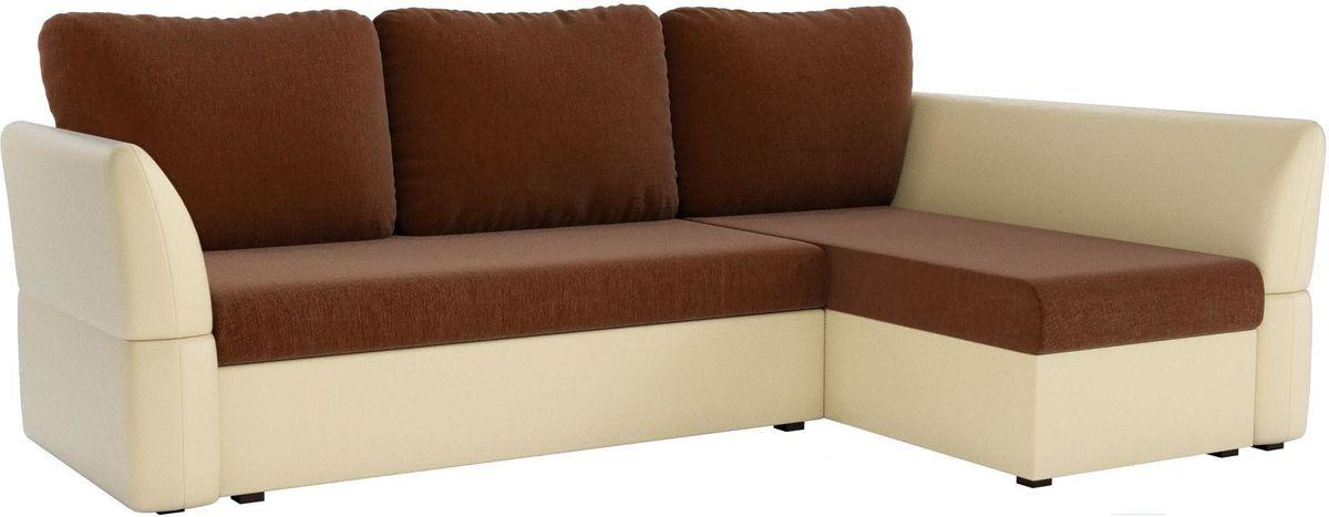 Диван Mebelico Гесен 100 правый 60064 рогожка коричневый/экокожа бежевый - фото 1