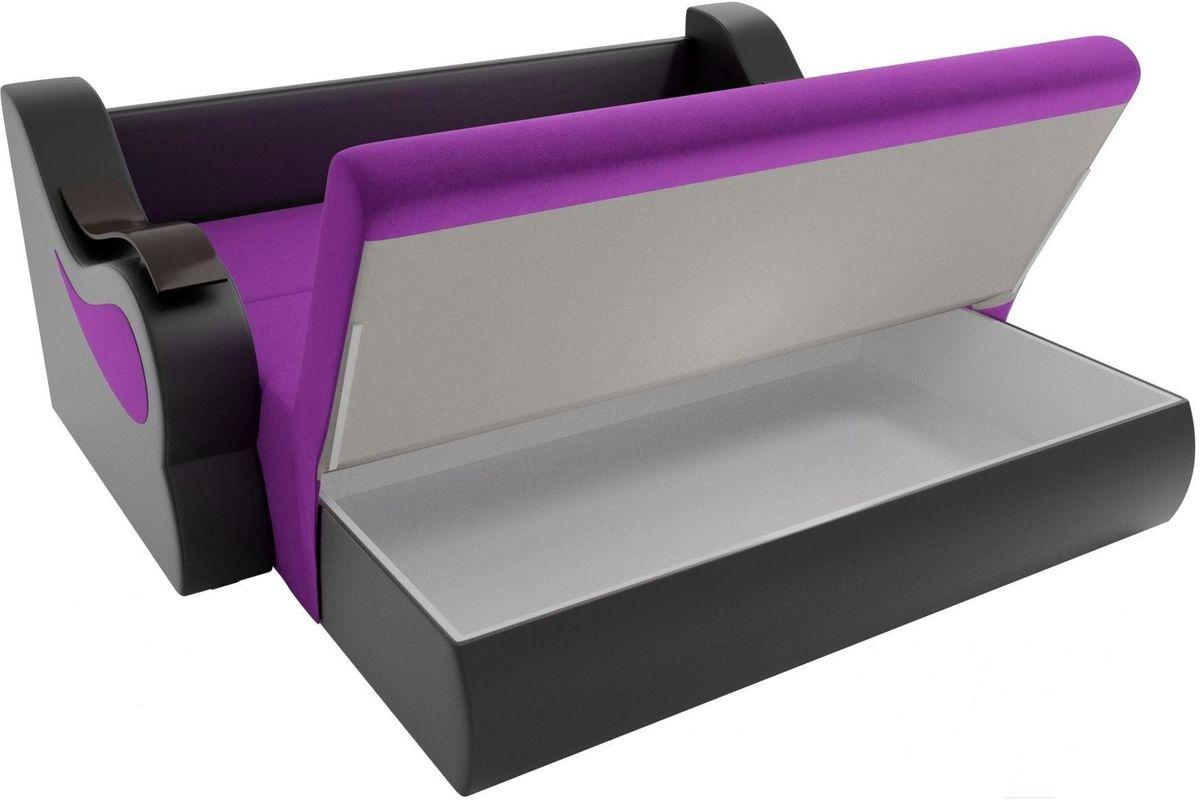 Диван Mebelico Меркурий 222 140, вельвет фиолетовый/экокожа черный - фото 6