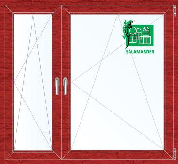 Окно ПВХ Salamander 1460*1400 2К-СП, 5К-П, П/О+П/О ламинированное (вишня) - фото 1