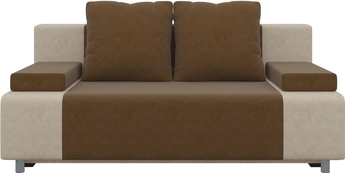 Диван Mebelico Чарли 63 микровельв. коричневый/бежевый - фото 1