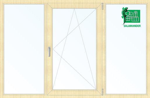 Окно ПВХ Salamander 2060*1420 2К-СП, 5К-П, Г+П/О+Г ламинированное (светлое дерево) - фото 1