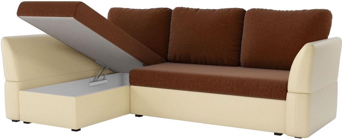 Диван Mebelico Гесен 100 левый 60064 рогожка коричневый/экокожа бежевый - фото 2