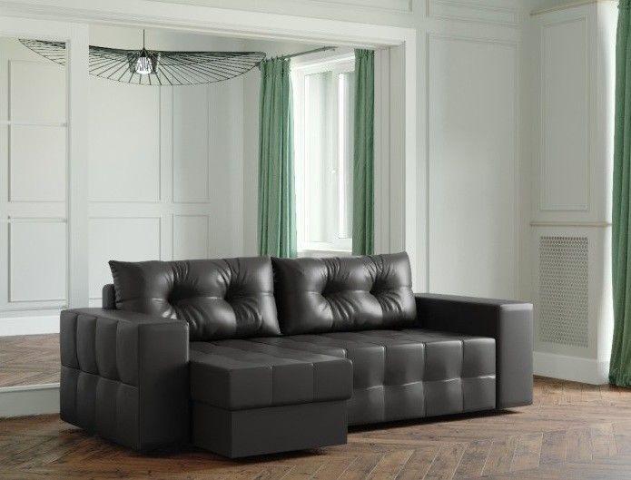 Диван Настоящая мебель Ванкувер Мейсон (модель: 00-00003434) экокожа/черный - фото 1