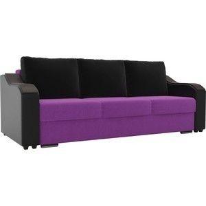 Диван ЛигаДиванов Монако микровельвет фиолетовый, подлкотники экокожа черные, подушки микровельвет черные - фото 3
