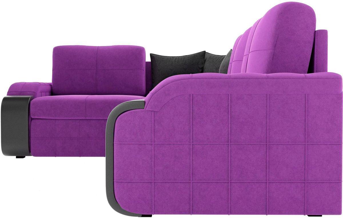 Диван ЛигаДиванов Николь 103 левый 60195 микровельвет фиолетовый/черный - фото 4