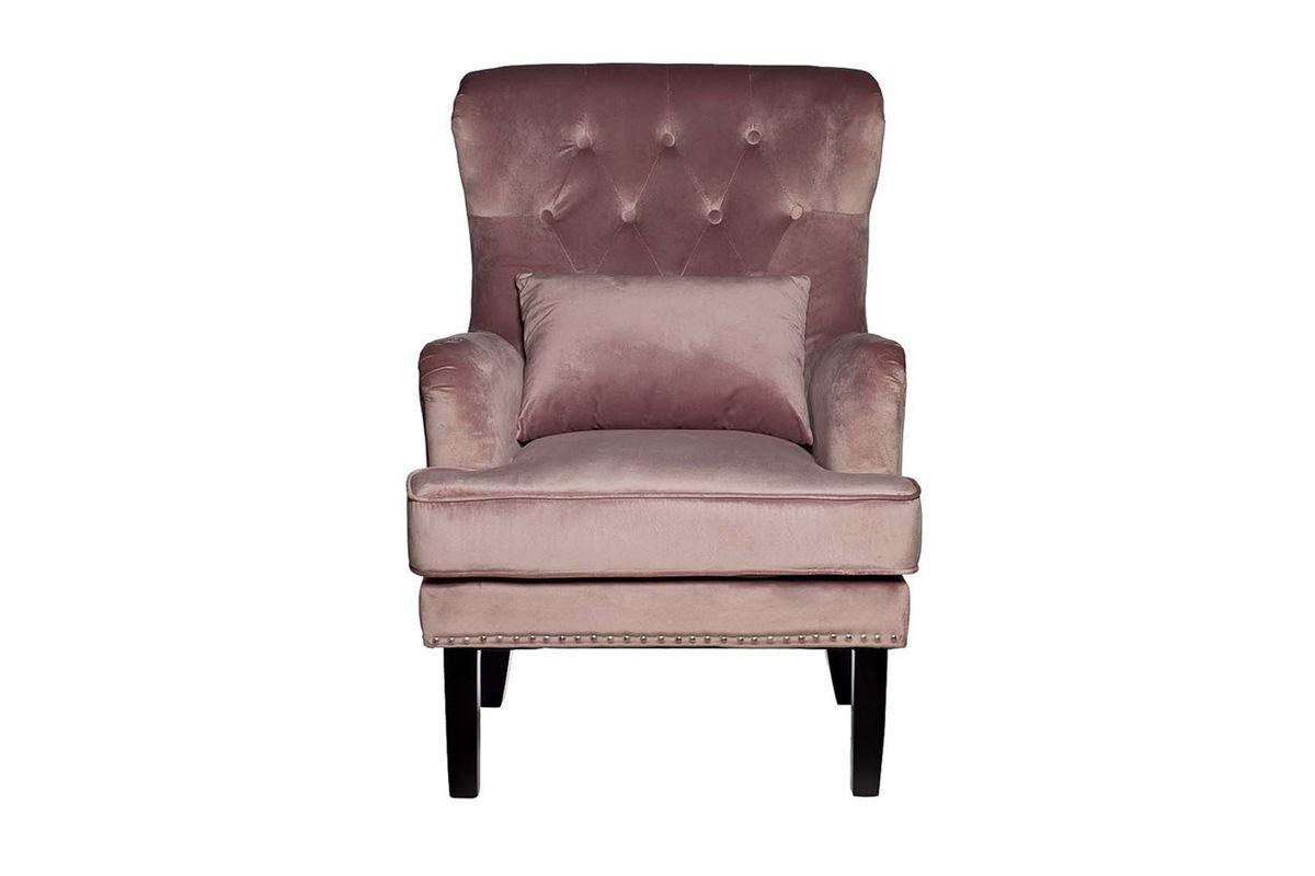 Кресло Garda Decor 24YJ-7004-06418/1 (велюровое дымчато-розовое с подушкой) - фото 1