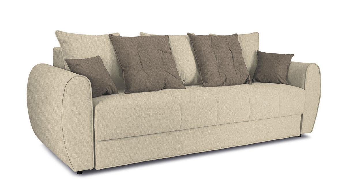 Диван ТриЯ «Бернард» (Neo 02 (рогожка) бежевый подушка Neo 04 (рогожка) светло-коричневый) - фото 1