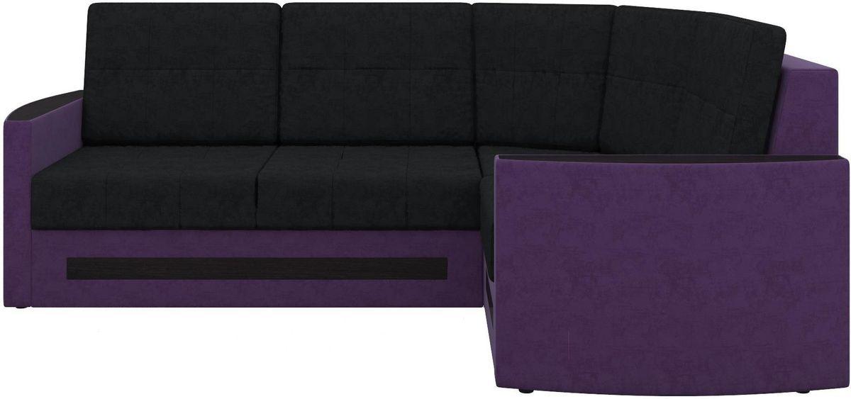Диван Mebelico Белла У 476 правый вельвет черный/фиолетовый - фото 4