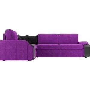 Диван ЛигаДиванов Николь левый угол микровельвет фиолетовый/черный - фото 4