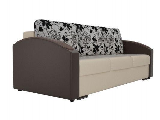 Диван ЛигаДиванов Монако Slide 102016 экокожа бежевый/коричневый/рогожка на флоке - фото 4