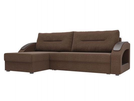Диван ЛигаДиванов Канзас угловой левый 101160 рогожка коричневый - фото 1