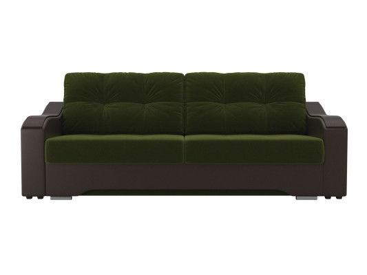 Диван ЛигаДиванов Браун 102171 микровельвет зеленый/экокожа коричневый - фото 3
