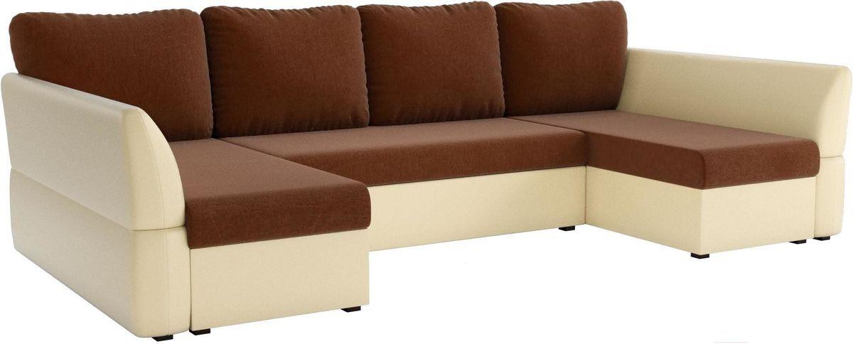 Диван Mebelico Гесен-П 101 рогожка коричневый/экокожа бежевый - фото 1
