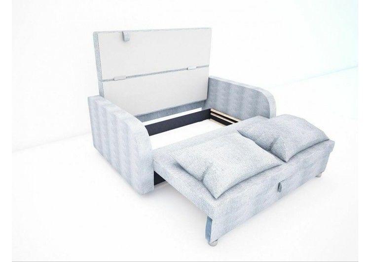 Диван Раевская мебельная фабрика Малыш с подлокотниками рогожка серая+квадраты 00611 - фото 3