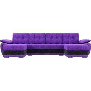 Диван ЛигаДиванов Нэстор п-образный велюр фиолетовый вставка черная - фото 4