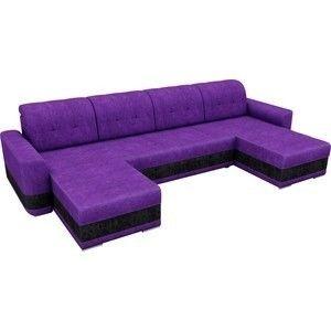 Диван ЛигаДиванов Честер п-образный велюр фиолетовый вставка черная - фото 2