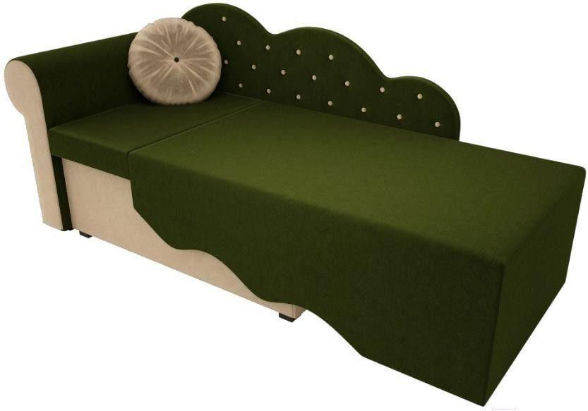 Диван Mebelico Тедди-1 106 левый 60489 микровельвет зеленый/бежевый - фото 3