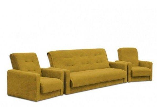 Набор мягкой мебели Луховицкая мебельная фабрика Милан Астра желтый (диван+2 кресла) 140x190 - фото 1
