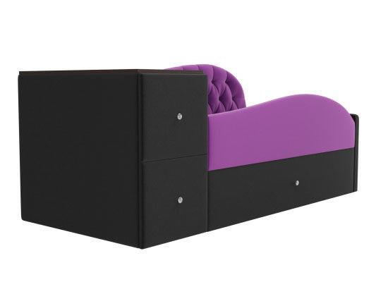 Диван ЛигаДиванов Джуниор левый 102200 микровельвет фиолетовый/черный - фото 2