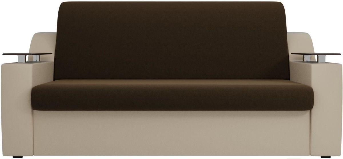 Диван Mebelico Сенатор 100713 140, микровельвет коричневый/экокожа бежевый - фото 1