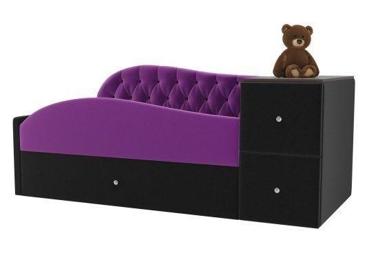Диван ЛигаДиванов Джуниор правый 102200 микровельвет фиолетовый/черный - фото 1