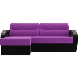 Диван ЛигаДиванов Форсайт левый микровельвет фиолетовый/черный - фото 4