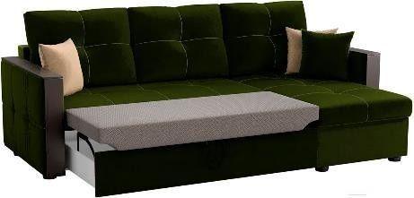 Диван Mebelico Валенсия 147 правый 59278 вельвет зеленый - фото 2