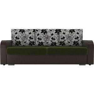 Диван ЛигаДиванов Мейсон микровельвет зеленый экокожа коричневый подушки рогожка на флоке - фото 3