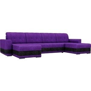 Диван ЛигаДиванов Честер п-образный велюр фиолетовый вставка черная - фото 1