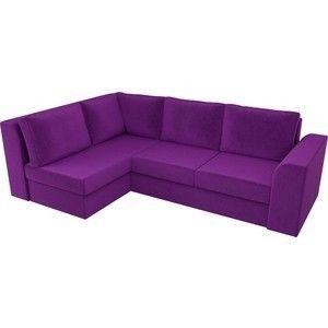 Диван ЛигаДиванов Пауэр угол левый вельвет фиолетовый - фото 4