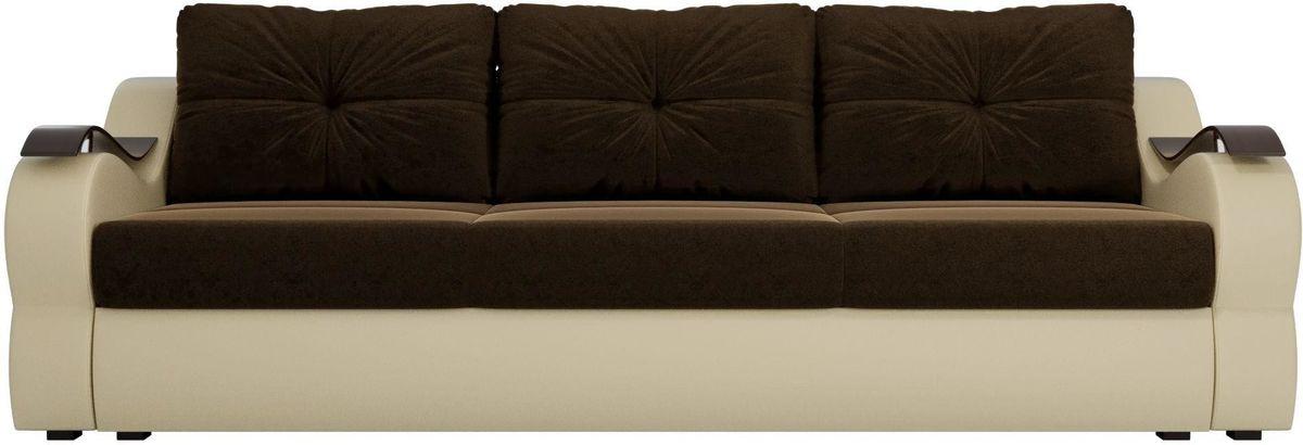 Диван Mebelico Меркурий микровельвет коричневый/экокожа бежевый - фото 1