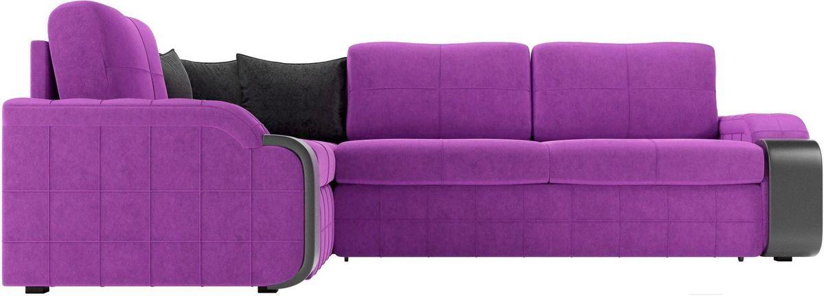 Диван ЛигаДиванов Николь 103 левый 60195 микровельвет фиолетовый/черный - фото 3