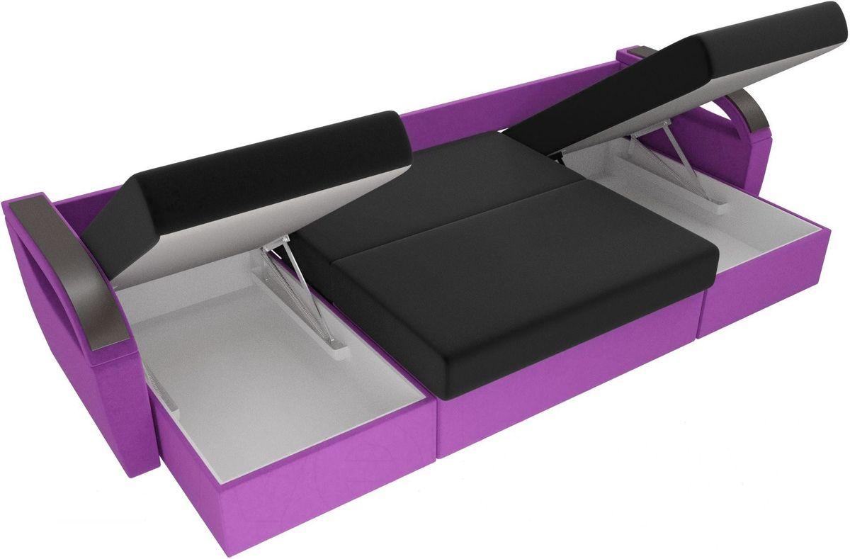 Диван ЛигаДиванов Mebelico Форсайт микровельвет фиолетовый/черный - фото 5