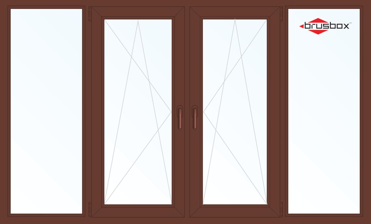 Балконная рама Brusbox 2900*1450 1К-СП, 4К-П, Г+П/О+П/О+Г (односторонняя ламинация) - фото 1