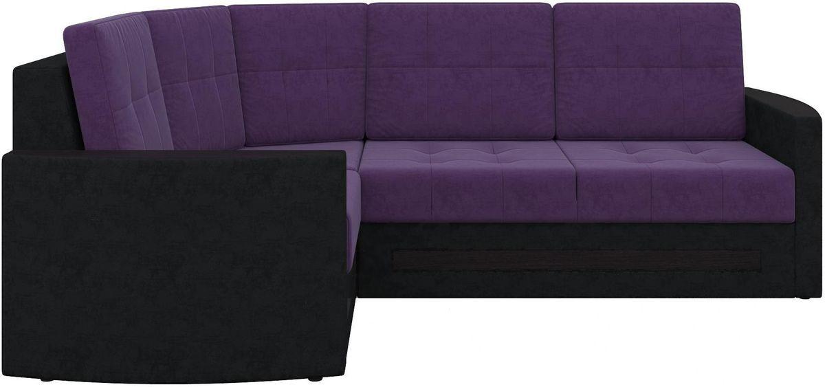 Диван Mebelico Белла У 476 угловой левый вельвет черный/фиолетовый - фото 7