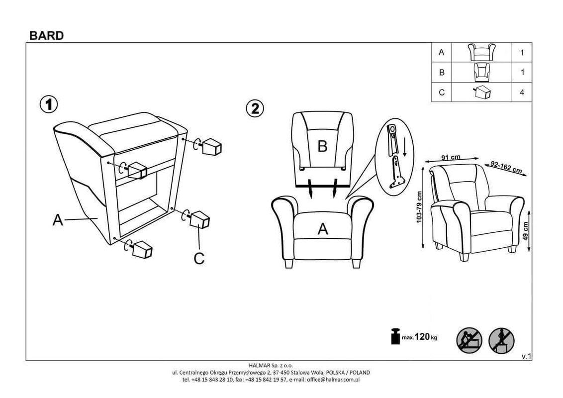 Кресло Halmar BARD (серый) V-CH-BARD-FOT-POPIELATY - фото 2