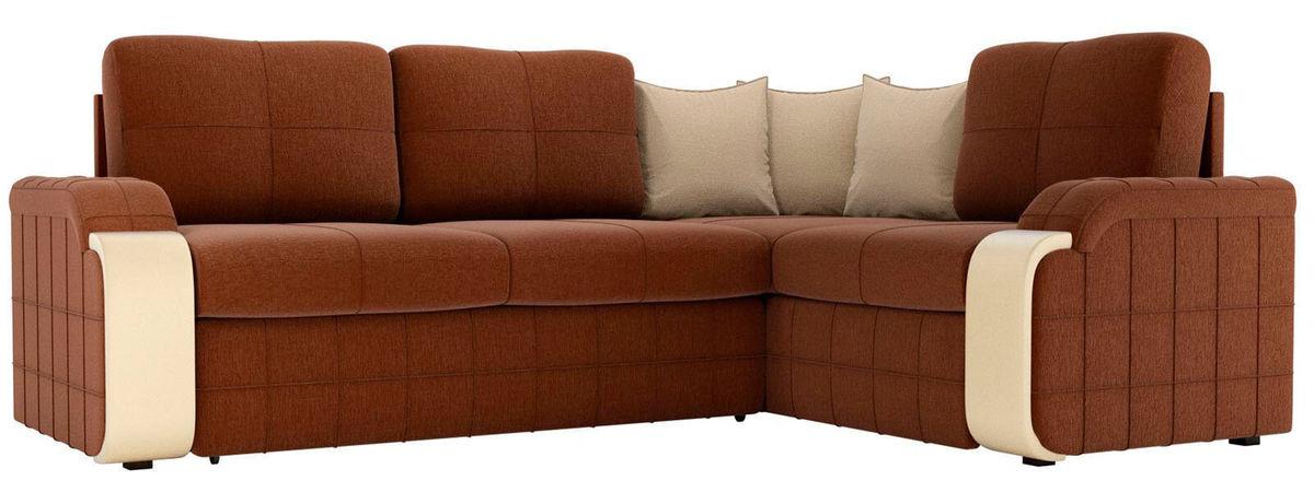 Диван ЛигаДиванов Николь 103 левый 60198 рогожка коричневый/бежевый - фото 1