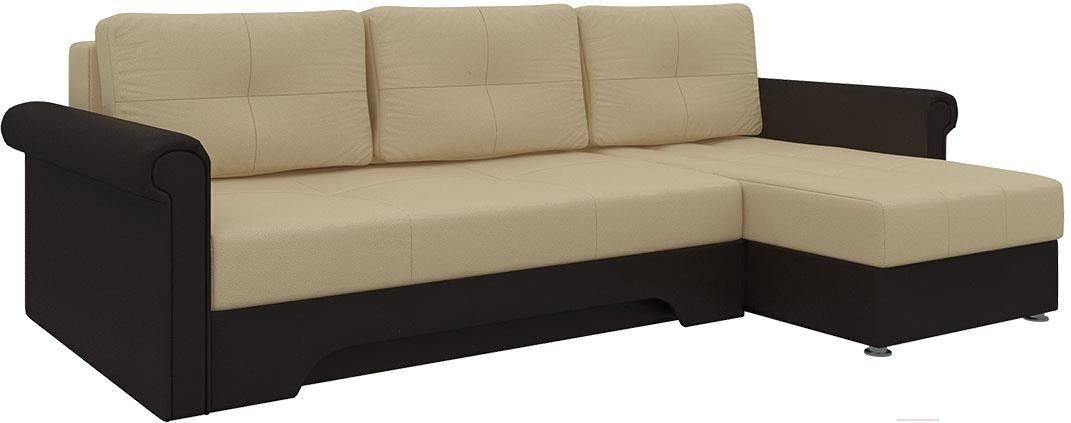 Диван Mebelico Гранд 491 правый 58016 экокожа бежевый/коричневый - фото 4