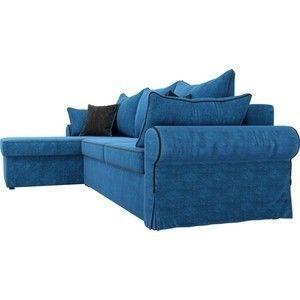 Диван ЛигаДиванов Элис 123 угловой левый 60651 велюр голубой, черные подушки - фото 4
