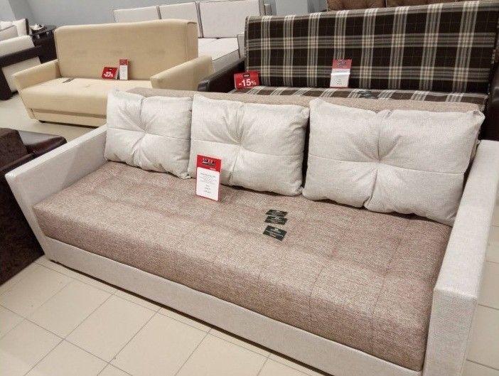 Диван Настоящая мебель Ванкувер Лайт (модель: 00-00001657) бежевый/коричневый - фото 1