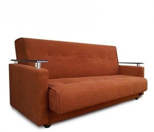 Диван Луховицкая мебельная фабрика Милан Люкс (Астра коричневый) пружинный 120x190 - фото 1