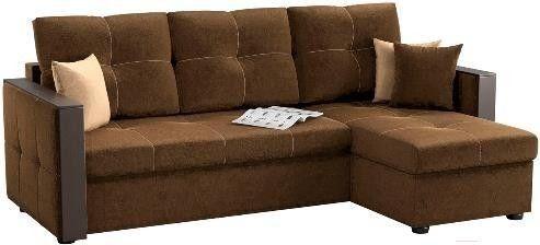 Диван Mebelico Валенсия 147 правый 59280 вельвет коричневый - фото 1