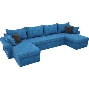 Диван ЛигаДиванов Элис П 124 60663 велюр голубой черные подушки - фото 2