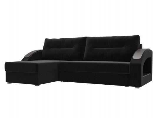 Диван ЛигаДиванов Канзас угловой левый 101158 микровельвет черный - фото 1
