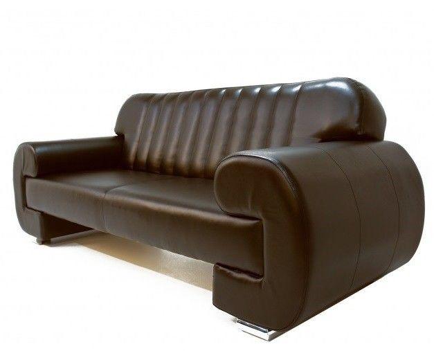 Диван Луховицкая мебельная фабрика Челси коричневый кожаный - фото 2