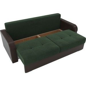 Диван ЛигаДиванов Мейсон велюр зеленый/экокожа коричневый - фото 4