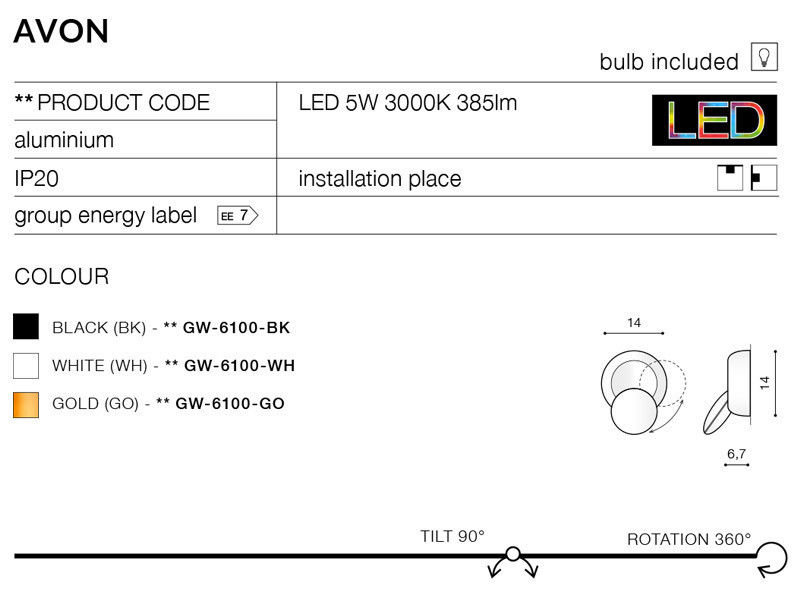 Настенно-потолочный светильник AZzardo Avon GW-6100-WH - фото 4