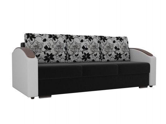 Диван ЛигаДиванов Монако Slide микровельвет черный/экокожа белый/рогожка на флоке - фото 1